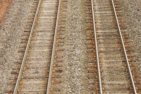 railway transportation: close up on old railway track