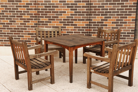patio furniture: patio furniture, outdoor wooden table and chairs