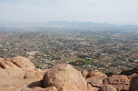 aerial view of rocky mountain and Phoenix city