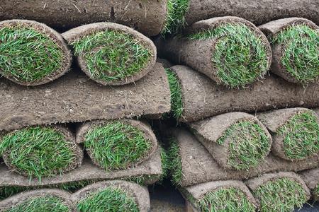turf pile: close up on stacking turf sod carpet