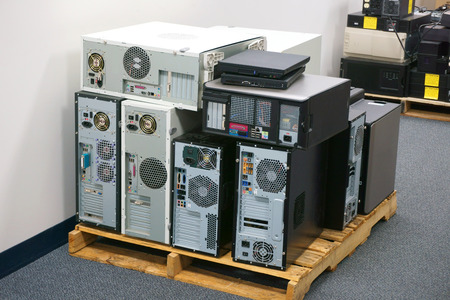 stacking obsolete computers and workstations Imagens