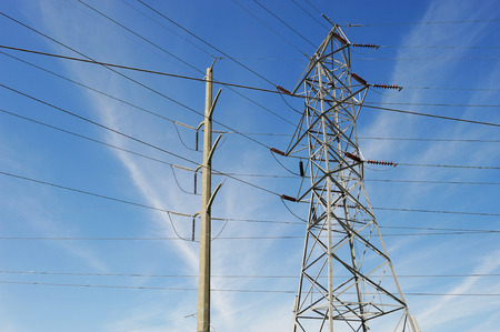 high voltage power tower and transmission line