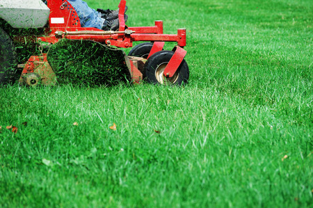 mowing the lawn Stockfoto