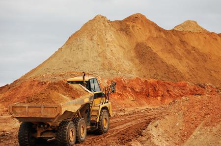 dump truck: dump truck in construction site
