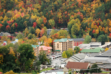 Gatlinburg and valley of smoky mountain in autumn Banco de Imagens
