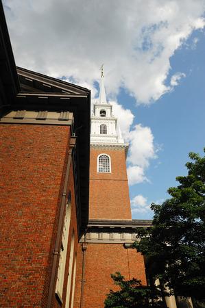 harvard university: low angle view of building tower in Harvard University campus