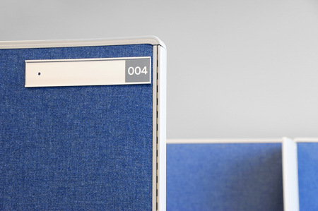 nameplate: office cubicle and nameplate Stock Photo