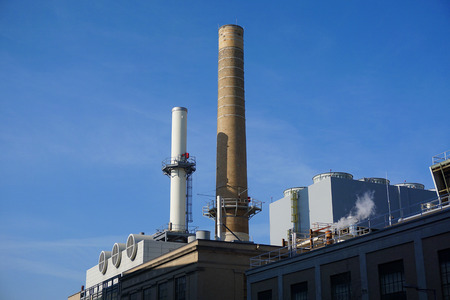 close up chimney: close up on factory lab with chimney