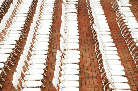 chairs arranged outdoor for ceremony Stock Photo - 76320260
