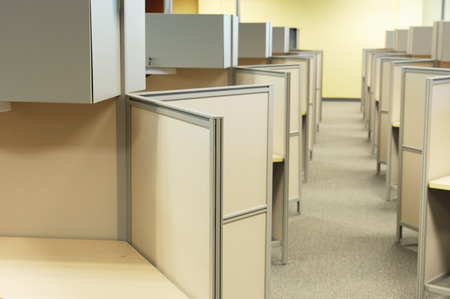 office furniture: cubicles in office Stock Photo