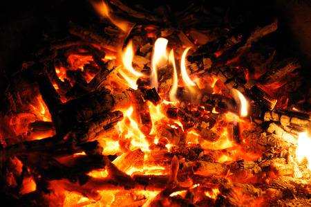firewood ash and fire flame