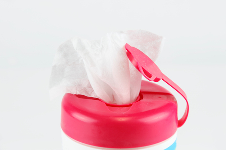 Close up on kids wipes in package Stock Photo