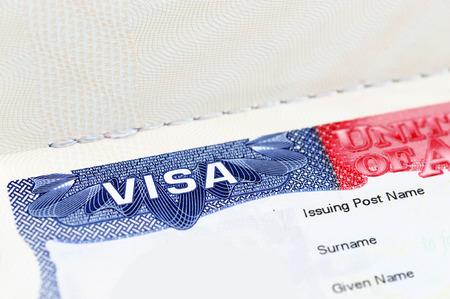Close up of a USA visa on the passport