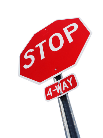 4 way stop sign isolated on white background Stock Photo