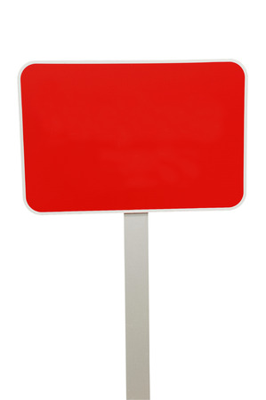 blank red road signpost isolated on white background