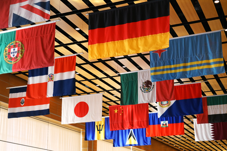 Hanging flags of multi nations