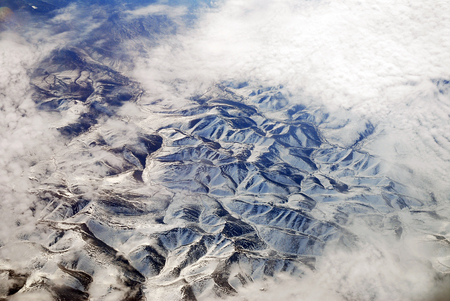 aerial view of snow mountains in Alaska