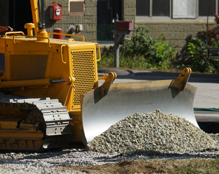 Close up on bulldozer in construction site Stock fotó