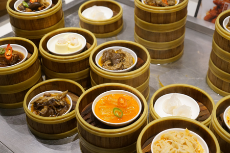 Different types of steam food in the Chinese restaurant