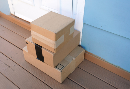 delivered stacking packages put in front of the door