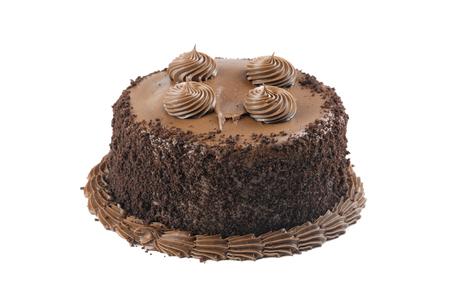 Single chocolate mocha cake isolated on white background