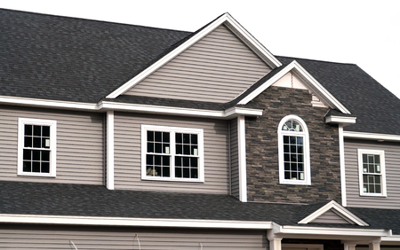 Close up on new built house in gray color Imagens