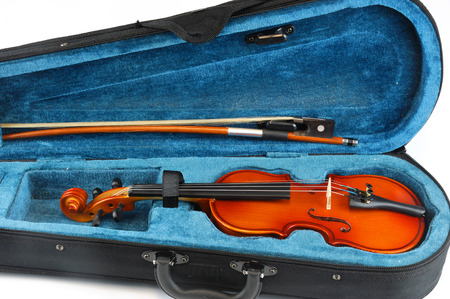 Violin in the case isolated on white background
