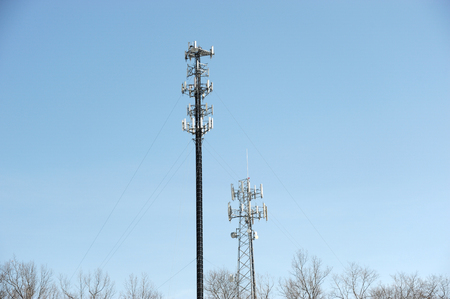 antenna on communication towers in sunny day