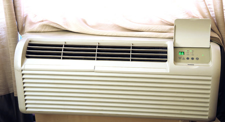 Close up on air conditioner in the hotel room