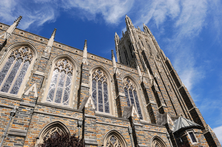 low angle view on the church tower in Duke University Stock Photo