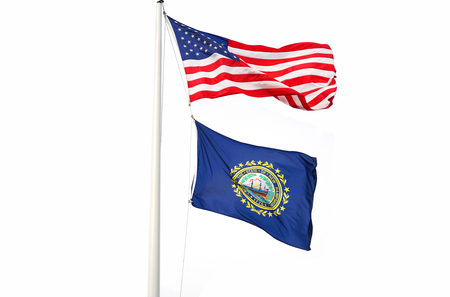 Waving New Hampshire state flag and USA national flag isolated on white background