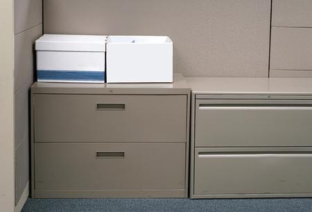 Cardboard box in the cabinet in office room