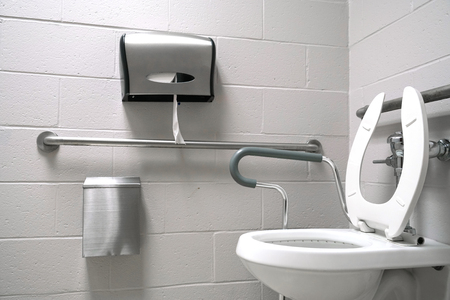 Close up on toilet with assistant handle Archivio Fotografico - 101368518