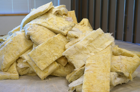 Close up on insulation material in a pile Stock Photo