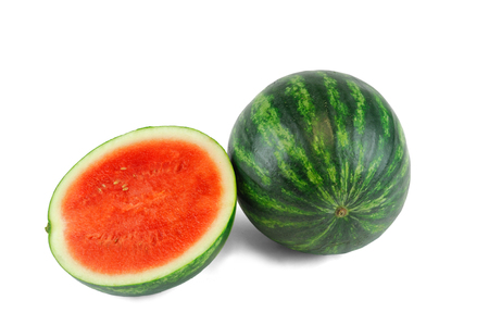 seedless watermelon and cut in half on white background