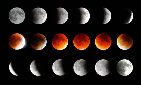 changing process of moon eclipse from start to end