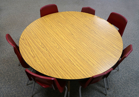 high angle view of round table and chairs Stock Photo