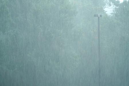 close up on heavy rain in summer thunderstorm