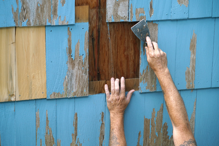 handyman repairing the house wall for painting Stock Photo