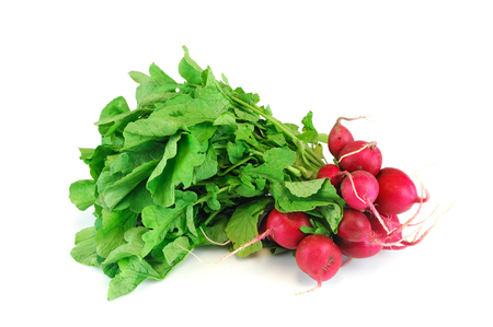 a bunch of fresh radish with green leaves