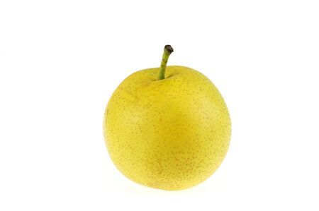 single yellow Asian pear isolated on white background