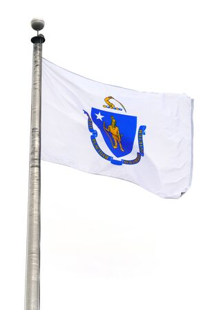 Massachusetts state flag waving on the pole in the wind