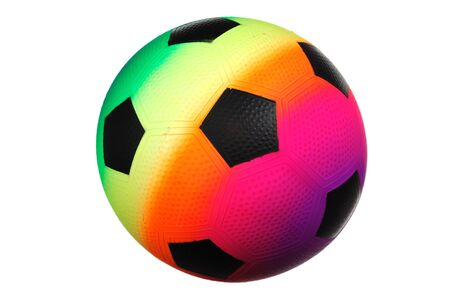 close up on single colorful football isolated on white background