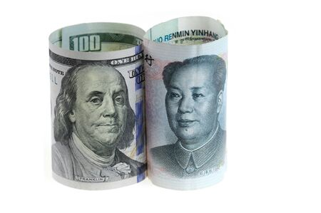 close up on US dollar and Chinese RMB bills isolated on white background Stock fotó