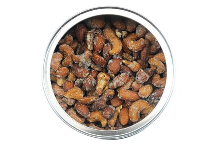 top view of roasted nuts in the can