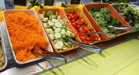 fresh vegetable salad buffet in the restaurant
