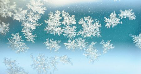 frost crystal on window glass in winter season Stockfoto