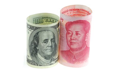 close up on US dollar and Chinese RMB bills isolated on white background Stock Photo