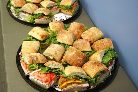 close up on fresh sandwich in the platter 版權商用圖片