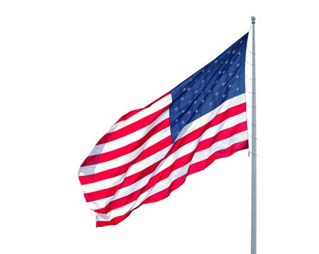 waving USA flag on pole isolated on white